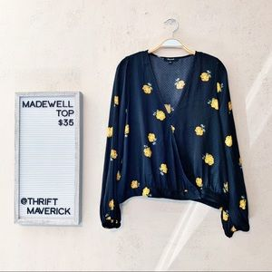 Floral & Polka Dot Silk Wrap Front Top | Madewell